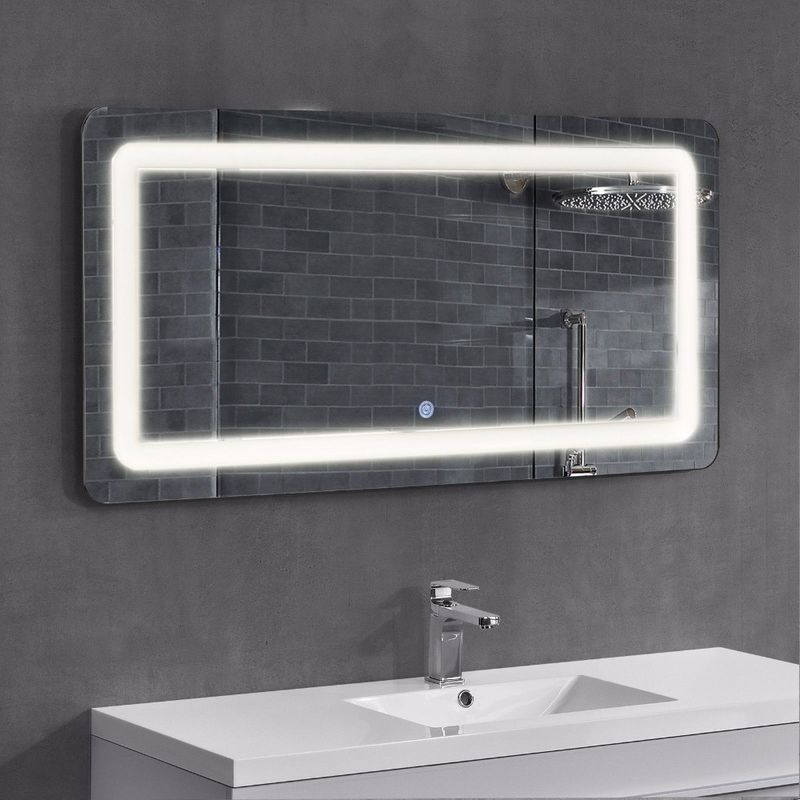 Frameless Led Surrounded Backlit Lighted Bathroom Wall Mirror With Bluetooth Radio
