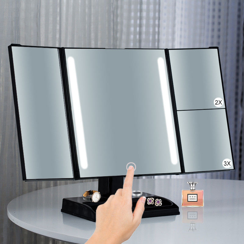 Square Glass Foldable Tri Fold Tabletop Vanity Mirror With Dry Battery